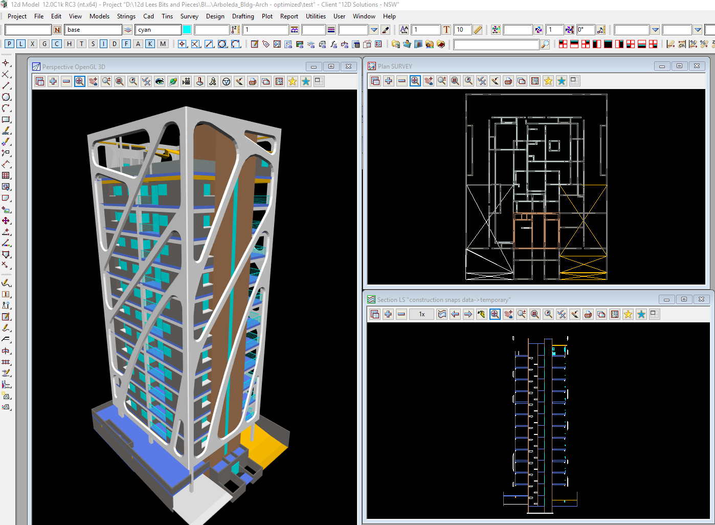 Data loaded into 12d Model from ArchiCAD IFC files